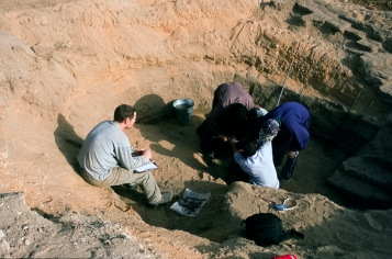 Seeking samples from the bottom of a well: As part of the study of the city's ancient wells, an auger was used to recover samples from the well attached to the house of Ranefer, under the supervision of Dan Lines in 2002. The aim was to reach beneath the water table, but the work was stopped when the auger hit solid stone, perhaps a buried column base.