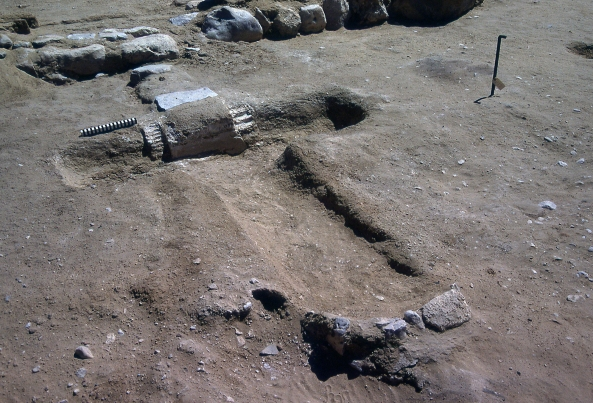 The T-shaped basins: Amarna offers rich remains for the archaeological study of cult in the ancient world. Here are the remains of one of the unusual T-shaped basins at the private chapels at the Workmen's Village, probably miniature versions of sacred lakes.