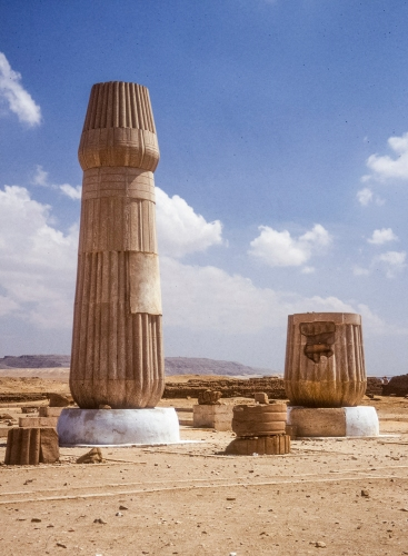 Temple columns: A project to reconstruct two of the Small Aten Temple columns was undertaken to help give visitors a sense of the vertical scale of the temple. They are now one of the most recognisable landmarks at the site.